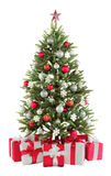Christmas fir tree with colorful lights close up Royalty Free Stock Image