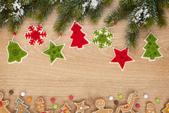 Christmas fir tree, cookies and decor Royalty Free Stock Photos