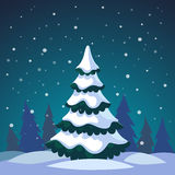 Christmas fir tree covered in the forest. Christmas fir tree covered in snow standing in the night forest. Flat style isolated vector illustration Royalty Free Stock Photo