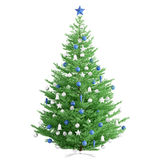 Christmas fir tree  3d render. Christmas fir tree with blue and silver baubles  over white 3d render Stock Photography