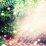 Christmas fir tree on dark wooden board - Winter background with Royalty Free Stock Photo