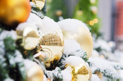Christmas fir tree decorated with balloons Stock Photography