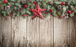 Christmas Fir Tree Decorated On Wooden. Background Royalty Free Stock Photos