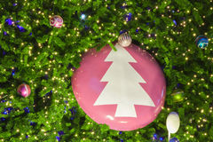 Christmas fir tree with decoration stock image