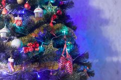 Christmas fir tree decoration with blue lights Royalty Free Stock Photo