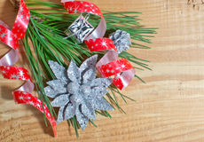 Christmas fir tree with decoration on a board Stock Image