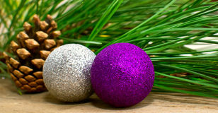 Christmas fir tree with decoration on a board Stock Photos