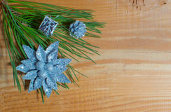 Christmas fir tree with decoration on a board Royalty Free Stock Image