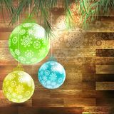 Christmas fir tree with decoration. EPS 10. Christmas fir tree with decoration on a wooden board. EPS 10 Royalty Free Stock Image