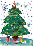 Christmas fir tree with decoration and gifts, watercolor illustration, child drawing  on paper Royalty Free Stock Images