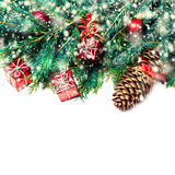 Christmas fir tree with decoration isolated on white - Christm Royalty Free Stock Photo