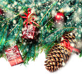 Christmas fir tree with decoration isolated on white - Christm Stock Photos