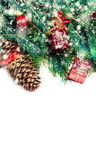 Christmas fir tree with decoration isolated on white - Christm Royalty Free Stock Images