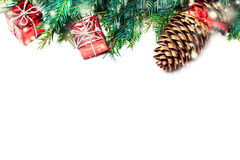 Christmas fir tree with decoration isolated on white - Christmas Royalty Free Stock Photos