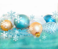 Christmas fir tree decoration isolated on white and green background. Holiday composition. Blank festive background. Stock Photos