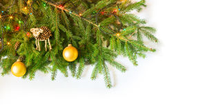 Christmas fir tree with decoration on white background Royalty Free Stock Photos