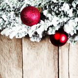 Christmas fir tree with decoration on a wooden board. Christmas Royalty Free Stock Images