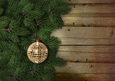 Christmas fir tree with decoration on a wooden board Stock Photography