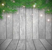 Christmas fir tree with decoration on a wooden board Stock Photos