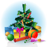 Christmas fir tree with decorations Stock Image