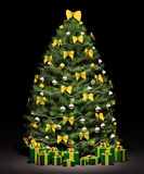 Christmas fir tree with decorations 3d render. Christmas fir tree decorated with golden bows and balls over the black 3d render Royalty Free Stock Photo