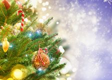 Christmas fir tree with decorations Royalty Free Stock Photos