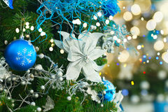 Christmas fir tree with decorations Stock Photos