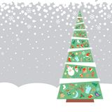 Christmas fir tree with decorations objects Royalty Free Stock Image