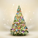 Christmas fir tree on elegant beige. EPS 10 Royalty Free Stock Photo