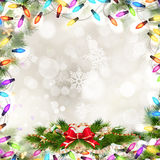 Christmas Fir Tree. EPS 10. Christmas Fir Tree Border over Vintage background. EPS 10 vector file included Stock Photography