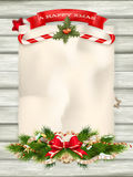 Christmas fir tree. EPS 10. Christmas fir tree with paper and christmas decorations. EPS 10 vector file included royalty free stock images
