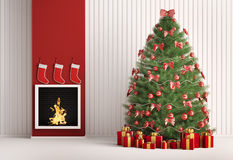 Christmas fir tree and fireplace 3d render. Christmas fir tree in the room with fireplace interior 3d render Stock Photos