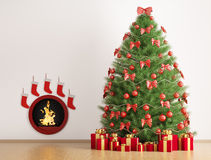 Christmas fir tree and fireplace 3d render. Christmas fir tree in the room with fireplace interior 3d render Royalty Free Stock Photo
