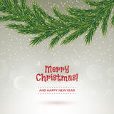 Christmas fir tree garland on falling snow back. Royalty Free Stock Photography