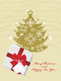 Christmas fir tree and gift box with red bow. Illustration Royalty Free Stock Photos
