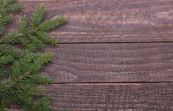 Christmas fir tree with gift boxe on wooden board Stock Photography