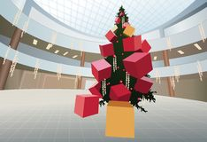 Christmas fir tree with gifts in shop. New year christmas fur tree with gifts in big shop royalty free illustration