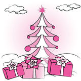 Christmas fir tree and gifts. Vector illustration Royalty Free Stock Photo