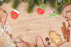 Christmas fir tree, gingerbread cookie and decor Stock Photography