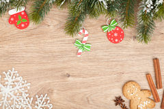 Christmas fir tree, gingerbread cookie and decor Stock Image
