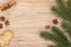 Christmas fir tree, gingerbread cookie and spices Stock Photography