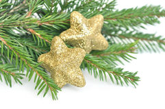 Christmas fir tree and glitter stars Stock Photos