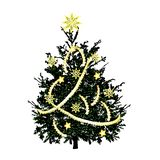 Christmas fir-tree with gold sparks royalty free stock photography
