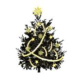 Christmas fir-tree with gold sparks stock image