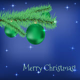 Christmas fir tree with green balls stars on a. Blue holiday background. Vector greeting card Stock Photography