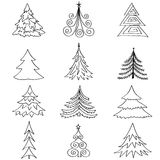Christmas fir tree  icon set. Winter New Year Holiday Decor   collection. Stock Image