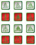 Christmas fir tree  icon set. Winter New Year Holiday Decor   collection. Stock Photos