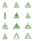 Christmas fir tree  icon set. Winter New Year Holiday Decor   collection. Stock Photo