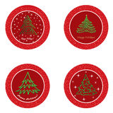 Christmas fir tree  icon set. Winter New Year Holiday Decor   collection. Royalty Free Stock Images