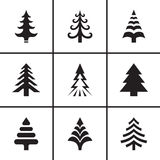 Christmas fir tree icons set Royalty Free Stock Photos